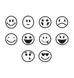 thin line emoticons icon set vector image vector image