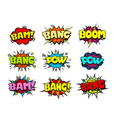 comic book speech bubbles crash and blast sounds vector image vector image