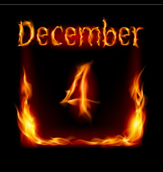 fourth december in calendar of fire icon on black vector image vector image