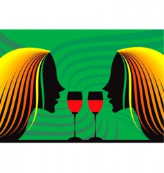 ladies and wine vector image vector image
