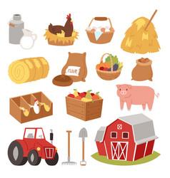 funny landscape farm tools cartoon farming house vector image