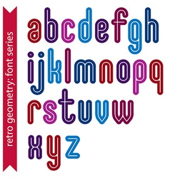 Multicolored binary striped distinct font vector