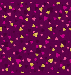 purple seamless background with golden and pink vector image
