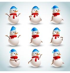 Snowman emotions set vector image vector image