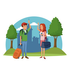 traveler couple city tree landscape vacation vector image