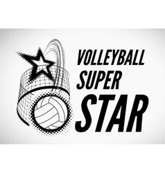 Volleyball super star design vector image vector image