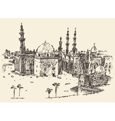 Cairo vintage engraved hand drawn sketch vector image vector image