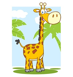 Happy Giraffe Character With Background vector image