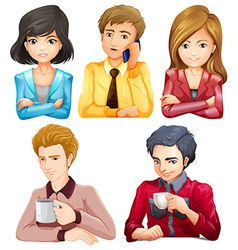 Male and female office workers vector image vector image