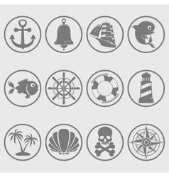 Marine symbols gray vector image vector image
