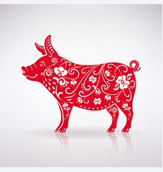 stylized red pig vector image vector image