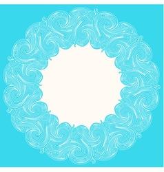 White engraving round frame vector