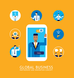 46 businessman make video call global business vector image