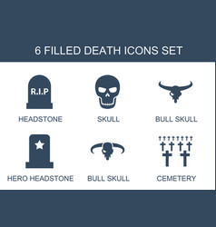 6 death icons vector