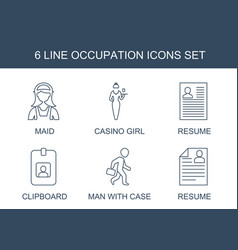 6 occupation icons vector