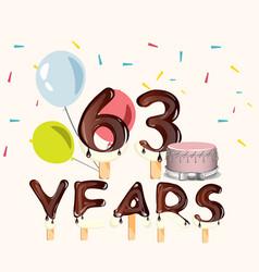 63 years happy birthday card vector