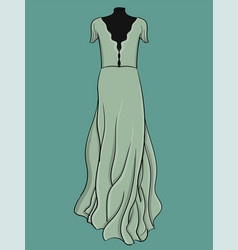 a long evening dress is light blue with light vector image