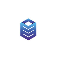 Abstract tile stack cube symbol pile box for vector