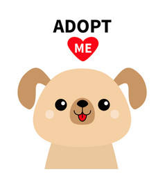 Adopt me cute dog face silhouette red heart pet vector