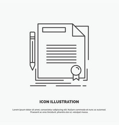 agreement contract deal document paper icon line vector image
