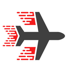 aircraft with fast speed effect vector image