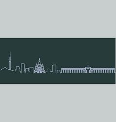 Almaty single line skyline vector