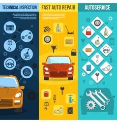 Auto service vertical banner set vector