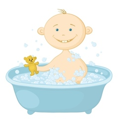baby wash in the bath vector image
