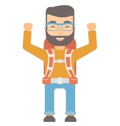 Backpacker with hands up vector