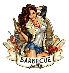 barbecue label with pretty woman vector image