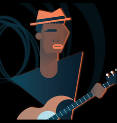 bass character playing in a rock band flat vector image