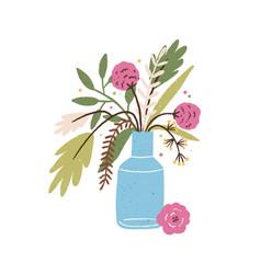 beautiful hand drawn bouquet blooming seasonal vector image