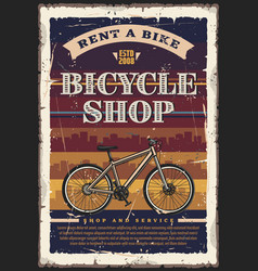 Bicycle or bike shop city transport vector