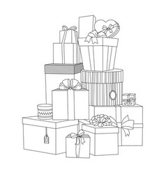 big pile wrapped gift boxes beautiful box vector image