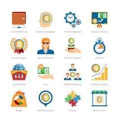Business And Finance Flat Icons Set vector image