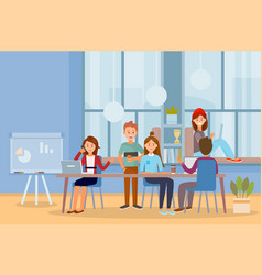 Business people teamwork workers in office working vector
