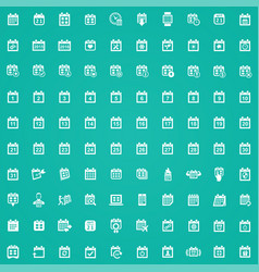 calendar 100 icons universal set for web and ui vector image