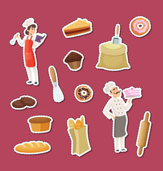 cartoon bakery stickers of set vector image