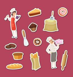 cartoon bakery stickers set vector image