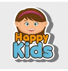 Cartoon girl happy kids smile vector