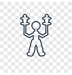 Circus stunt man concept linear icon isolated on vector