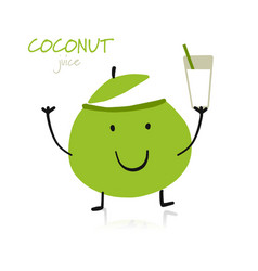 Coconut funny character for your design vector