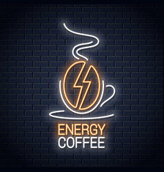 coffee bean neon sign coffee energy neon concept vector image