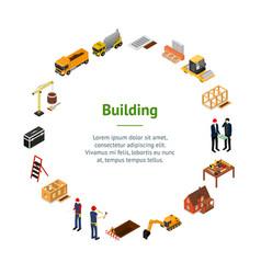 construction building concept banner card circle vector image