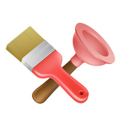 Crossed plunger and paintbrush tools vector
