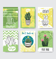 cute and creative cactus card template vector image
