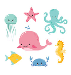 Cute baby sea fishes cartoon underwater animals vector