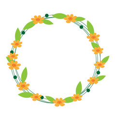 cute flower circle frame on white background vector image