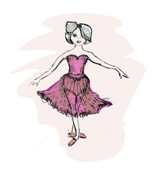 Cute little ballerina doodle nursery vector