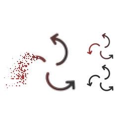 Dispersed pixel halftone cyclone arrows icon vector